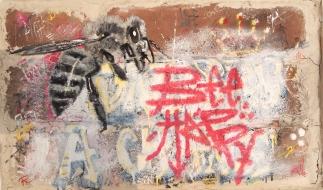 Bee Happy (oil and enamel on brick)
