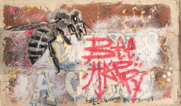 Bee Happy (oil and enamel on brick)