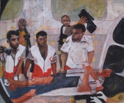 An ambulance crew at work in Palestine (pastel and pencil on card)