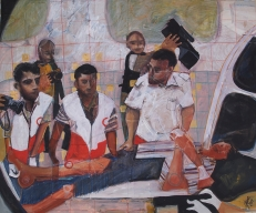 An ambulance crew at work in Palestine - pastel and pencil on card
