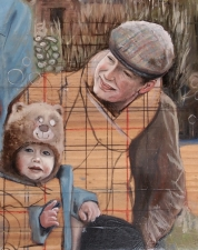 Buck & Liv (oil on pine panel) SOLD
