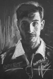 Jules Bianci (chalk on black card)