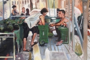 Detail from Lo Pagan Market (oil on canvas)