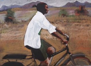the work of world bicycle relief - acrylic on card