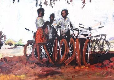 the work of World Bicycle Relief (acrylic on card) SOLD