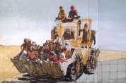 Yazidis rescued by Kurdish peshmerga (pastel on card)