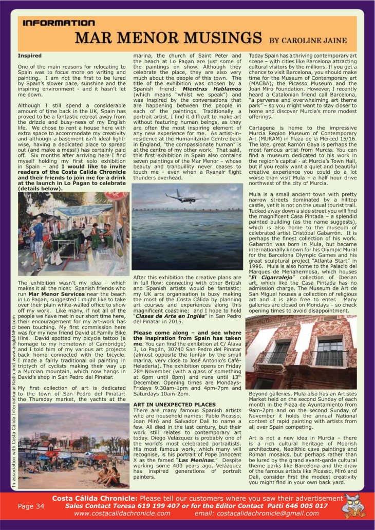 jaine costa calida chronicle november-2014