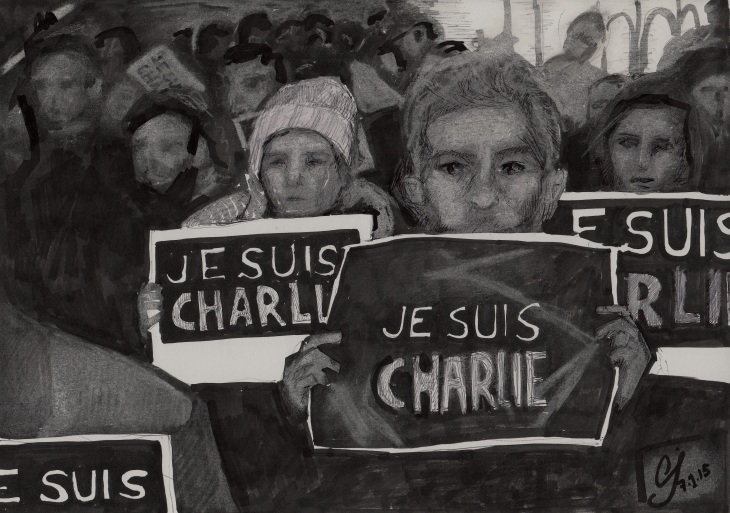 """Je Suis Charlie"" in board marker, biro and chalk on paper by Caroline Jaine"
