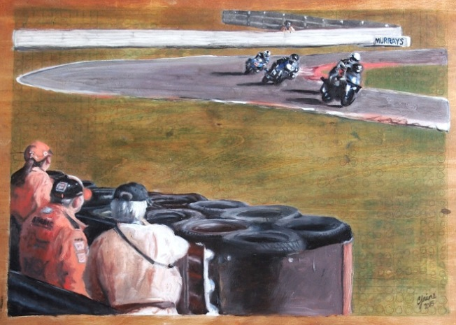 Classic Superbikes racing at Snetterton in October 2011 (oil on wooden panel)