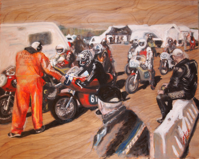 Classic 350s approaching the assembly area at Pembrey Circuit for final checks (oil on wood)