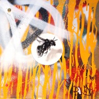 Anarchist Bumble Bee (gloss, oil and spray paint on record sleeve)