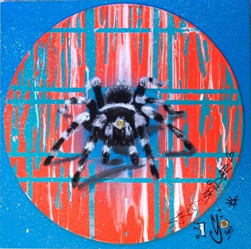Stroud Spider (gloss, oil and spray paint on vinyl record)