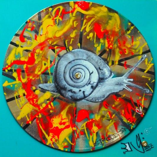 Stroud Snail (gloss, oil and spray paint on vinyl record)